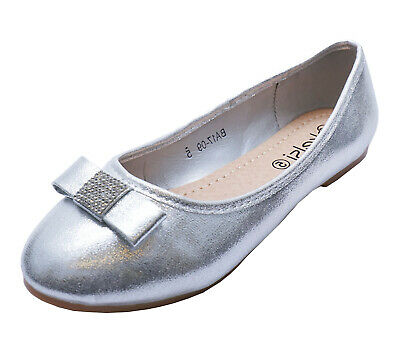 £8.99 • Buy Ladies Silver Flat Slip-on Wedding Bridesmaid Pumps Comfy Party Shoes Sizes 3-8