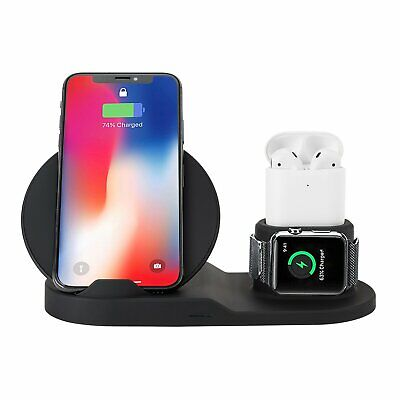 AU28.76 • Buy 3in1 Wireless Charger Fast Charging Dock Stand For Airpods Apple Watch IPhone XS