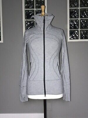 $ CDN75 • Buy Lululemon Stride Jacket 4 Silver Spoon Pique Long Eeuc Rare