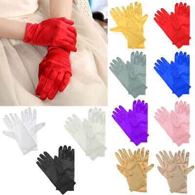 £2.92 • Buy Womens Ladies Bride Wedding Wrist Short Gloves Party Driving Prom Stretch Satin