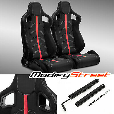 $292.99 • Buy 2 X BLACK PVC LEATHER/RED STRIP/RED STITCH LEFT/RIGHT RACING BUCKET SEATS