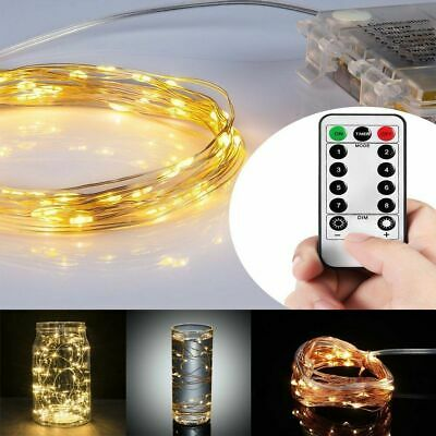 $7.50 • Buy  100 LED Fairy String Light Strip Copper Wire Battery Power Remote Control 33 Ft