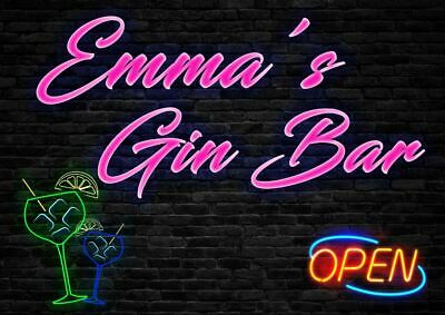 £5.99 • Buy Personalised Gin Cocktail Home Bar Metal Sign Neon Plaque Garage Fun Alcohol UK