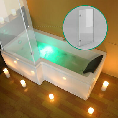 L Shape Whirlpool Bath Tubs 8 Massage Jets 6mm Glass Screen And Waste Left Hand • 479£