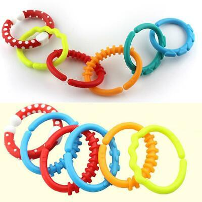 £4.50 • Buy 12x Silicone Stroller Gym Play Mat Toys Rainbow Teether Ring Links Baby Kids