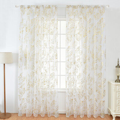 £7.67 • Buy 1/2/4 Panels Sheer Voile Golden Window Screening Curtains Drape Room Home Tulle