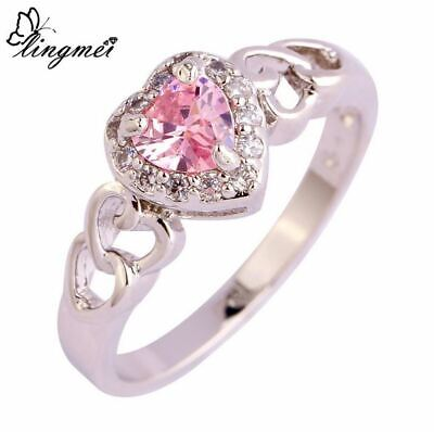Lady Heart Cut Sweet Pink CZ Silver Ring - Choose A Size • 9.99£
