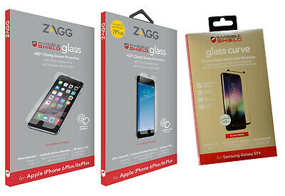 ZAGG Invisible Shield Tempered Glass OR Plastic Screen Protector IPhone Galaxy • 2.89£