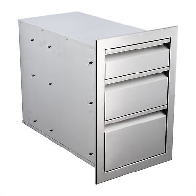 $184.99 • Buy 18in Triple Worktable Drawer Stainless Steel Outdoor Kitchen BBQ Access Drawer