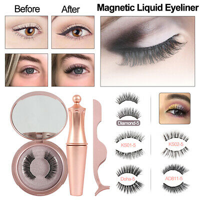 AU13.82 • Buy Magnetic False Eyelashes Natural Eye Lashes Extension Liquid Eyeliner & Tweezer