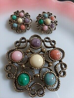 $20 • Buy Vintage 3pc Sarah Coventry Signed Costume Jewelry Set.brooch /clip On Earrings
