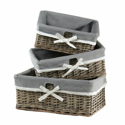 Set Of 3 Natural Wicker Storage Basket Drawer With Removable Grey Lining • 26.24£