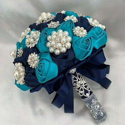 Brides Brooch Bouquet, Teal Navy Blue Roses, Vintage, Artificial Wedding Flowers • 155.95£