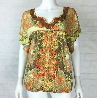 $11.39 • Buy Live And Let Live Size XL Womens Blouse Top Embellished Neck Yellow Orange