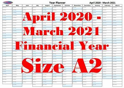 A2 Pastel Blue Fade Financial Year Planner April 2020 - March 2021 Wall Calendar • 3.99£
