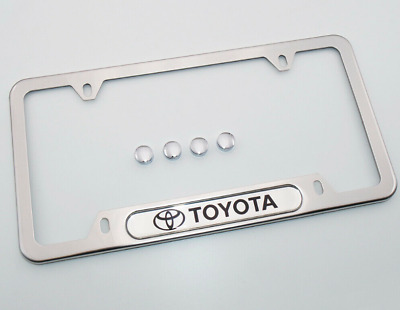 $19.75 • Buy 2X Silver Toyota New License Frame Plate Cover Stainless Steel Chrome W/ Cap