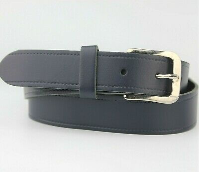 Dark Blue Thick Leather Retro Style Belt Silver Buckle Size M Made In England • 7.95£