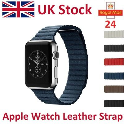 $ CDN27.09 • Buy For Apple Watch Leather Strap IWatch Genuine Leather Band Magnetic Milanese Loop