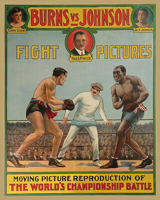 $4.99 • Buy Heavyweight Fight TOMMY BURNS Vs JACK JOHNSON Glossy 8x10 Photo Print Poster