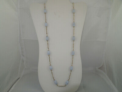 $ CDN151.18 • Buy Whitney Kelly WK Sterling Silver 925 Carved Blue Lace Agate Necklace 32
