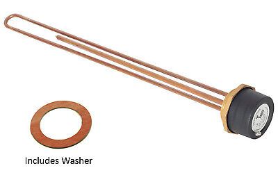 """Tesla 27"""" Copper 3kW Hot Water Immersion Heater Element 2 1/4  Boss + Thermostat • 22.16£"""