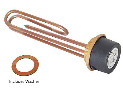 "Tesla 11"" Copper 3kW Hot Water Immersion Heater Element 2 1/4  Boss + Thermostat • 20.08£"