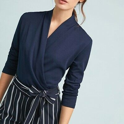 $ CDN84.46 • Buy BNWT Anthropologie Maeve Curran Wrap Front Top Navy XL