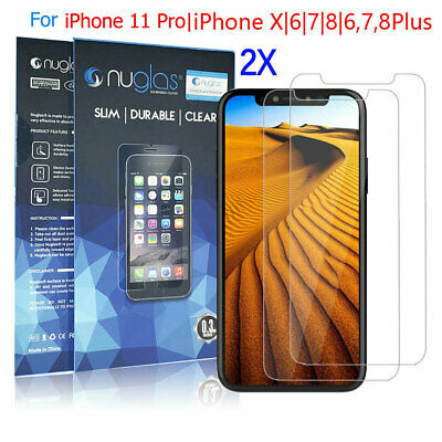 AU6.95 • Buy IPhone 11 Pro XS Max X 8 7 6 6S Plus 2x Nuglas Tempered Glass Screen Protector