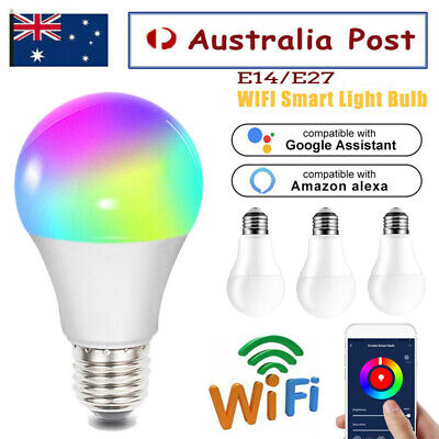 AU21.99 • Buy E14 E27 WiFi Smart LED Light Bulb Globe For Alexa Google Home 10W RGB Colour