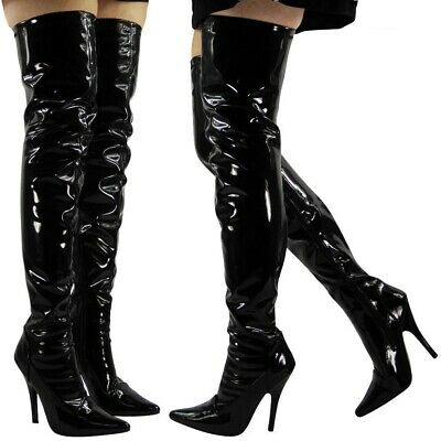 £34.99 • Buy Ladies Thigh High Over The Knee Fetish Boots Front Lace Stiletto Heel Sizes 3-12