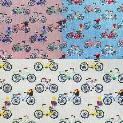 100% Cotton Poplin Fabric City Push Bike Balloons Floral Bicycle 145cm Wide • 8£