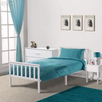 Single Pine Bed Frame 3ft White Wooden Shaker Style Bedroom Furniture • 49.99£