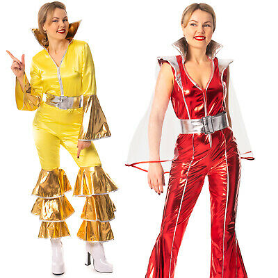 60s 70s 80s Popstar Jumpsuit & Belt Costume Outfit For Retro Disco Hen Night • 14.99£
