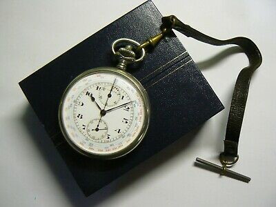 Rare Vintage British Army WW2 Jaeger-LeCoultre Pocket Watch Chronograph Boxed   • 660£