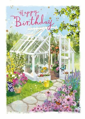 Birthday Card - Summerhouse Garden - At Home Ling Design Female Quality NEW • 2.69£