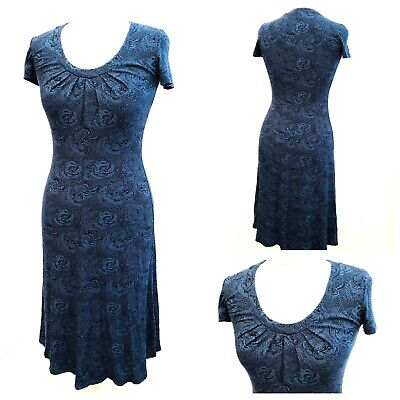 Brora Ladies Blue Black Floral Smock Flare Stretch Dress Work Casual Summer Sz 8 • 24.99£