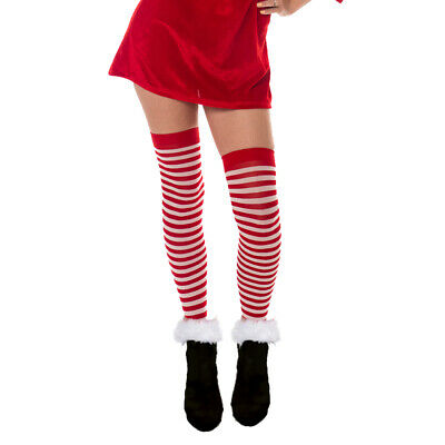Stockings Christmas Elf Red And White Striped Hold Ups Santa Sexy Hot Tights  • 2.99£