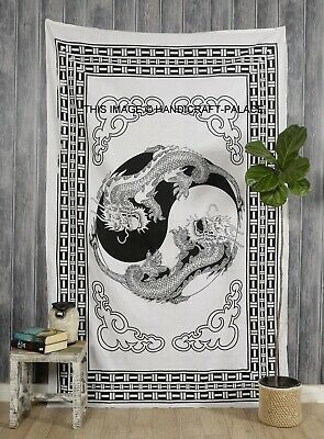 Tapestry Dragon Black And White Wall Hanging Yin Yang Throw Bedspread Twin Decor • 11.99£