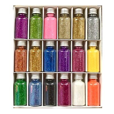 18x Multi Coloured Glitter Bottles BOX Set • 9.99£