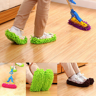 1/2pcs Mop Slippers Lazy Floor Foot Socks Shoes Quick Polishing Cleaning Dust UK • 3.99£