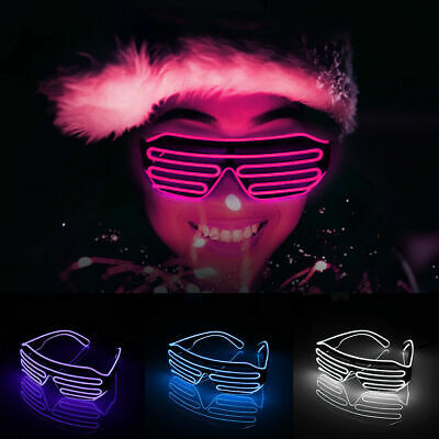 Voice Control Party Neon El Wire LED Light Up Shutter Flashing Glasses Eyewear  • 5.98£