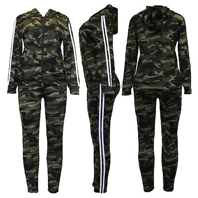 New Womens Army Camouflage Side Stripe Jogging Bottom Lounge Pants Tracksuit Set • 14.99£