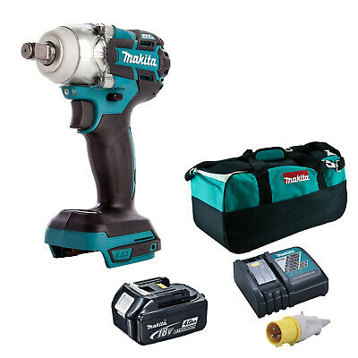 MAKITA 18V LXT DTW285 IMPACT WRENCH, BL1840 BATTERY DC18RC 110v CHARGER BAG • 263.98£