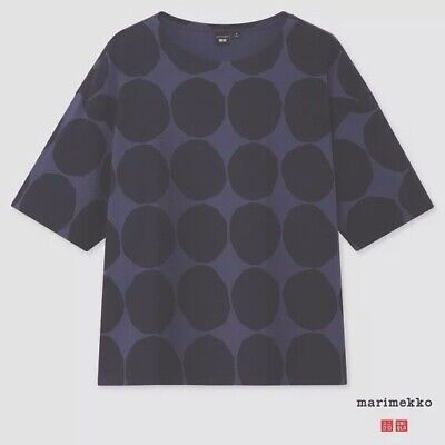 AU39 • Buy Uniqlo X Marimekko Women Short Sleeve T-Shirt Top NWT  Blue/ Black S