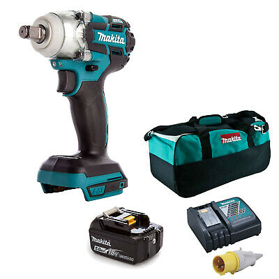 MAKITA 18V LXT DTW285 IMPACT WRENCH, BL1850 BATTERY DC18RC 110v CHARGER BAG • 317.02£
