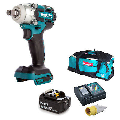 MAKITA 18V DTW285 IMPACT WRENCH, BL1850 BATTERY DC18RC 110v CHARGER LXT600 BAG • 322.02£