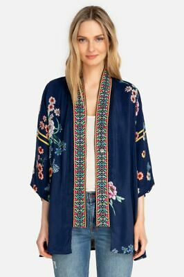 $149.99 • Buy JOHNNY WAS $378 NWT Maci Floral Georgette Reversible Kimono PXS Embroidered Trim