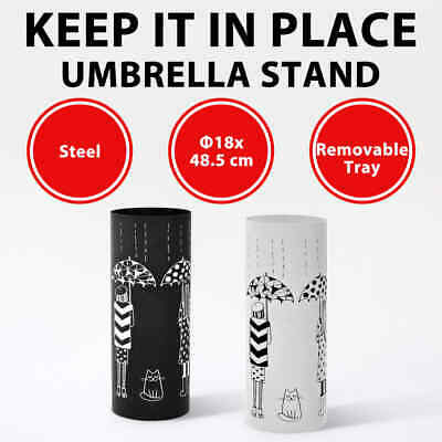 AU49.99 • Buy VidaXL Umbrella Stand Women Steel Round Entryway Umbrella Holder Black/White