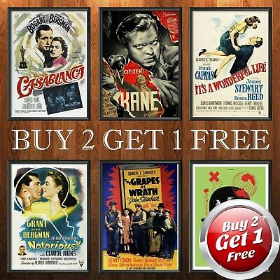 £2.99 • Buy CLASSIC 1940s MOVIE POSTERS A4 A3 A3+ Size Film Art Print Home Decor Gift Idea