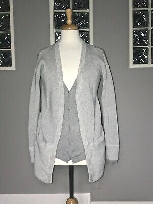 $ CDN68 • Buy Lululemon Vestigan 4 Heathered Gray Angel Wing Euc Cardigan Sweater